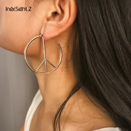 2019 paz de guerra IngeSight.Z Punk Anti-War Peace Sign Hoop Earrings Declaração Geométrica Rodada Círculo Brincos para Mulheres Jóias Brincos Oorbellen paz de guerra barato