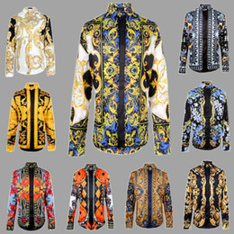 einzelfarbenhemden Rabatt Seidenhemd Männer Welle der Männer Blumendruck-Farbmischung Lässige Harajuku Shirts Langarm-Patchwork Männer Medusa Shirts