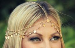 Tocado de plata bohemio online-Oro Plata Moda Bohemio Mujeres Cabeza de Metal Cadena Headpieces Joyería del pelo Danza de la frente Pedazo Accesorios de la boda Corona Hippie