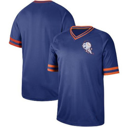 2020 pullover di fragole 2019 New Style Vintage Darryl Strawberry Shirts Pullover Strawberry BLUE Baseball Jersey Met Blank Scollo a V Jersey Uniformi Mne Size S-3XL sconti pullover di fragole