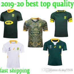 novo 2019 2020 África do Sul 100 anos de rugby camisa Jersey rúgbi equipe nacional Sul Africano camisola camisas 100 camisa aniversário s-3xl de Fornecedores de jérsei de rugby azul amarelo