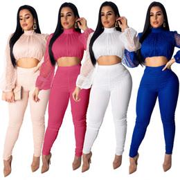2019 traje fino para mulheres brancas Mulheres fatos de treino Top com calças Ternos Ver Através Slim Fit Sólido Preto Branco Treino Tamanho S-XL desconto traje fino para mulheres brancas