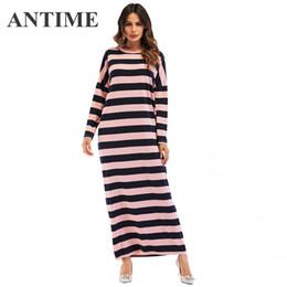 aef1118a99a ANTIME женщины довольно макси платье повседневная полосатый прямые длинные  рукава Осень Зима O-образным вырезом элегантный мода новые длинные платья  халат