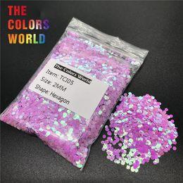 geles de iluminación púrpura Rebajas TCI05 Pearlescent Iridiscente Color Púrpura Hexágono Forma Nail Glitter Nail Art Decoración de Uñas Gel Maquillaje DIY Accesorio