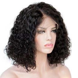 long hair bobs Coupons - Curly Bob Lace Front Human Hair Wigs For Women Natural Color Remy Brazilian 13x4 Water wave Lace Wig Free Part Full End 130-150%
