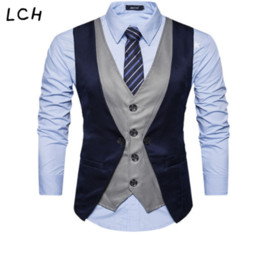 smart patch Promo Codes - Mens Patch-work Formal Blazer vests Smart Casual Single Breasted V-neck Vest EU Size S-XXL Male Vests Drop shipping
