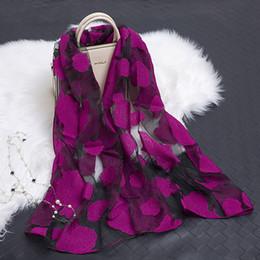 menina hijab quente Desconto New Hot bandana Lenço De Seda Das Mulheres de Luxo hijab Bordado Longo Lenço preto Fios de Renda Lenços de Moda Xale Menina Acessórios