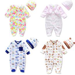c83003e05d5 Newborn Baby Clothing Spring Autumn Long Sleeve hat Jumpsuit 2 piece O Neck Kids  Romper 100% Cotton Multi Colors