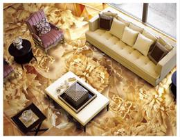 Madeira pvc autoadhesiva on-line-Personalizado 3D foto mural papel de parede pvc autoadesivo piso adesivo à prova d 'água de parede Chinês escultura em madeira peônia madeira 3D piso de ladrilho