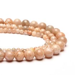 Pedra natural jóias fazendo entregas on-line-10 Strand Genuine Sunstone Beads Suave Rodada Natural Peach Sol Pedra Pedras Preciosas Soltas Spacer Beads 4mm-14mm para Jóias Artesanato Fazendo Suprimentos
