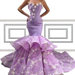 layered purple evening dress Coupons - Petal Powers Appliques Layered Skirt Prom Dresses 2020 Sexy Sweetheart Hand Made Flowers Floor Length Evening Gowns Formal Occasion Wears
