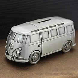 Autobus en métal jouet en Ligne-Vintage Métal Ville Bus Tirelire Haute Qualité Finition Étain Autobus Scolaire Banque Économiser Jouets Artisanat Décoration Pour Enfants Enfants