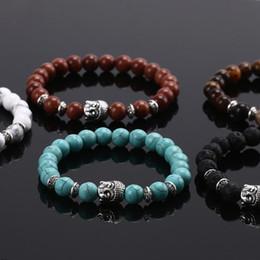 perline a mano all'ingrosso Sconti All'ingrosso-1PC uomini fatti a mano donne lava rock braccialetto naturale Buddha testa perline braccialetto