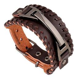 Ткать обертывание кожаный браслет онлайн-Браслет из натуральной кожи плетеный канат ручной работы браслет Wrapband Мужчины Браслеты Браслеты для женщин Vintage кожаный браслет ручной работы