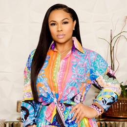 Vestidos de moda pliegues online-Moda, otoño, última moda, estampado floral, mujeres, dos piezas, vestidos de fiesta, mangas largas, camisa con lazo, parte superior y pliegues, conjuntos de faldas de calle.
