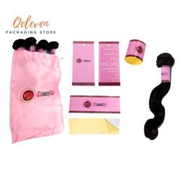 2019 decorações de festa rosa de bolinhas Papel Wraps Logo personalizado Virgem Cabelo Embalagem Set Cabelo Bundle Adesivos Tag do cair de cetim de seda packging Bags