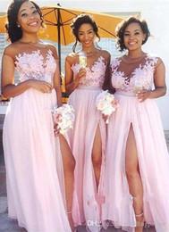 vestido de noite bonito barato Desconto Barato bonito do laço de chiffon vestidos de dama de honra fenda maid of honor vestido de dama de honra vestidos de casamento mulheres nigeriano vestidos de noite de hóspedes