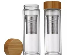 2019 protetor shaker garrafa direta direta Atacado 450 ml Tampa De Bambu Copo De Vidro De Parede Dupla Parede Dupla Inclui Filtro Infusor Cesta Garrafa De Água 10 pcs