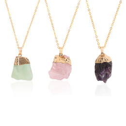 irregular shape plate Promo Codes - Pendant silver accessories natural irregular shape gemstone rose quartz healing crystal necklace unshaped amethyst ore