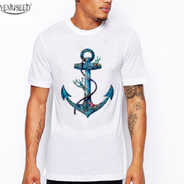 camicia di stampa dell'ancora di bianco dell'uomo Sconti Yemuseed 2019 Top da uomo estivo stampato bianco T Shirt Anchor Print Tees Shirt Cts16