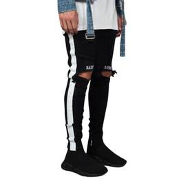 Costumi jeans online-feitong denim da uomo ricamo cotone foro dritto tasca pantalone jeans strappati pantaloni streetwear pantalon homme costume # 3