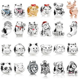 Pandora encantos de animales de plata online-925 Sterling Silver Animal Charms Multi Style Cat Dog Bears Lion Beads Fit Pandora silver 925 Original Charm Pulseras Joyas