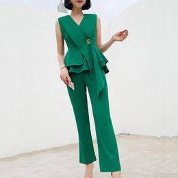 Vestidos de verão profissional on-line-Versão coreana de duas peças com decote em V cintura ruffled camisa de moda profissional calças terno vestido de verão 2019 net vermelho