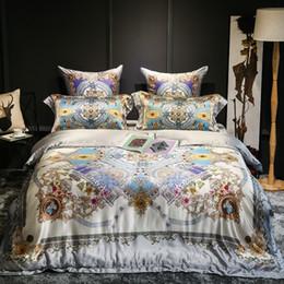 Capas de edredon cetim europeu on-line-Luxo 100% de seda de cetim Jacquard Bedding Set Duvet Cover Lençois folha Europeia Bed Real Fronhas Têxtil Roupa de cama