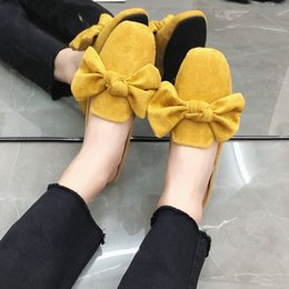 size adult shoes Coupons - Luxury Women Slipper With Bow Suede Gouden Slides Mulely Shoes 2019 Summer Slippers For Adults Ladies Slippers 35-44 Large Size