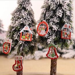 покраска деревянный дом Скидка 12шт Рождество Украшение DIY расписанных деревянные Elk Снеговик дерево Рождественских носки Малой Подвеска Tree House Висячий Декор
