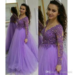 gold-imperium heimkehr kleider Rabatt Elegante Lavendel-Illusion Abendkleid Heimkehr V-Ausschnitt mit langen Ärmeln wulstigen SpitzeApplique Reich-Taillen-formales Kleid Vestidos