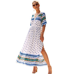 2019 modelos de mangas maxi vestido Autonomía Posimi Second Early Autumn chifón maxi Dress 2019 Impresión V Falda de manga corta mujer verano vestidos largos de playa modelos para mujeres modelos de mangas maxi vestido baratos