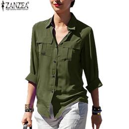 blusa de solapa blusa suelta tops Rebajas 2019 Summer Women Chiffon Top y blusas Casual Loose Solid Manga larga Solapa Bolsillos Formal Lady Shirts Blusas Femininas