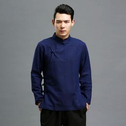 Hombres de otoño Blusa Blusa de lino negro Ropa tradicional china Camisa de manga larga Blusas étnicas Masculina Chemise desde fabricantes