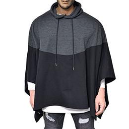 Männliches kap online-Mode Lässig Party Hoodie Mens Stitching Splice Sweatshirts Pullover Unregelmäßigen Saum Poncho Cape Mantel Männlichen Mit Kapuze Streetwear Großhandel