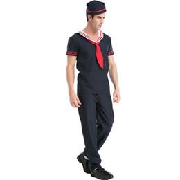 Costumi da marinaio maschile online-Materiali del vestito operato Halloween Costume Maschile Carnival Party Adulti Sailor Man Costumi Cosplay Navy Uniform Ognissanti partito