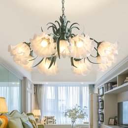 Vintage Glass Chandelier Lighting Floral French Glass Lustre Light Cristal Suspension Hanging Lamp MD2396 For Living Room Tree Branch Chandelier