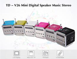 Radio digitali portatili online-Portable TD-V26 digitale FM altoparlante radiofonico Mini Radio FM Stereo Ricevitore con LCD altoparlante supporto Micro TF