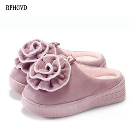 Милые женщины клинья обувь онлайн-High-heeled Thick-soled Cotton Mop Ladies Half-pack With Home Shoes Wedges Warm Cotton Slippers Women's Cute Flower Slippers