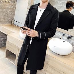 27655c1c53135 Çince AreMoMuWha 2019 Yeni Moda Uzun Rüzgarlık erkek Eğilim Kendi Kendini  yetiştirme Kore Versiyonu Uzun Ceket