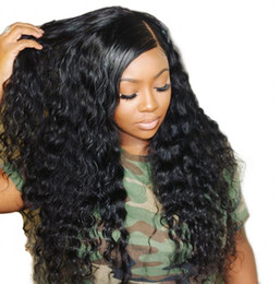 Parrucche cinesi nere online-Parrucca per capelli umani in pizzo allentato onda piena 150% densità brasiliana peruviana Malese cinese parrucche per capelli umani vergini per donne nere Parrucca per capelli sciolti