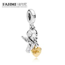 configuración de la joyería de oro 14k Rebajas FAHMI 100% 925 de plata de ley 767796CZ Shine Cupido y usted colgante del encanto adecuado diy collar colgante de las mujeres el día de san valentín