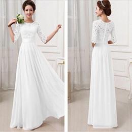 2019 vestidos de moda marfil Vestido de dama de honor blanco largo 2020 con gasa de encaje hasta el suelo 3/4 manga larga vestido de dama de honor para invitada de boda para llevar en el campo