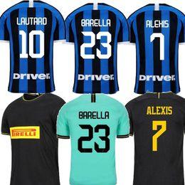 2020 uniformes de futbol negro 2019 Inter de Milán ERIKSEN Lukaku casa 20 aniversario de distancia verde Negro Hombres jersey de fútbol ALEXIS maillot uniformes de la camisa de pie Fútbol 2020 uniformes de futbol negro baratos