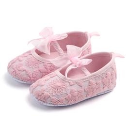 2019 ballerina zubehör mädchen Rosa weißes Bogen-Kleinkind-Mädchen beschuht Weinlese-Zusatz-Säuglingsschuh-Ballerina-Beuten Neugeborenes günstig ballerina zubehör mädchen
