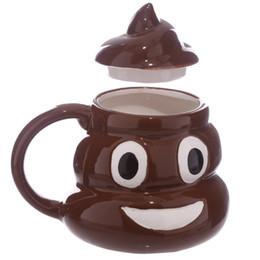 Copo de café dos desenhos animados 3d caneca on-line-Engraçado Em Cerâmica 3D Poo Emoji Caneca Dos Desenhos Animados Sorriso Leite De Café Cocô Caneca Copo de Água com Aperto de Mão Tampa De Copo de Chá Escritório Drinkware