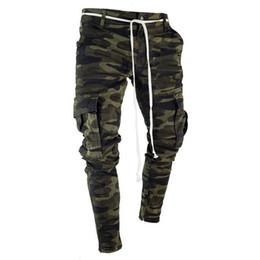 Mens gefaltete hose online-Mens dünne Stretch-Denim-Hosen gefaltetes zerrissenes Freyed Slim Fit Jeans Hosen Hot Cargo-Hosen Jeans Männer Kleidung