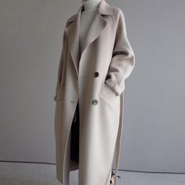 abrigo de lana rosa con volantes Rebajas La capa del invierno de las mujeres solapa ancha de la correa del bolsillo de mezcla de lana Escudo de gran tamaño zanja larga Outwear de lana de las mujeres