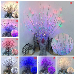 2021 führte beleuchtete vasen LED Willow Branch Lampe 20 Glühbirnen Batteriebetriebene Light String Vase Füllstoff Willow Zweig Light Branch Home Party Weihnachtsdekoration DBC VT0372