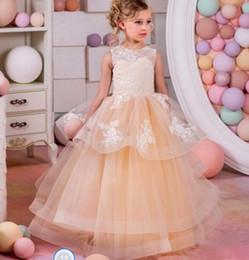 99ab82312b6 Jewel A Line Длина пола Кружева Аппликация Многоуровневые Юбки Красивое  Платье Pageant Маленькая Девочка Вечернее Платье
